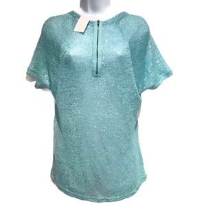 🆕 CATO Blue Silver Zip Up Sheer Knit Top Small